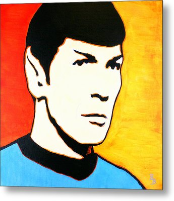Metal Print featuring the painting Spock Vulcan Star Trek Pop Art by Bob Baker