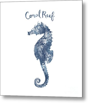 Sponge Painted Seahorse Coral Reef Silhouette, Delft Blue Nautical Art Metal Print by Tina Lavoie