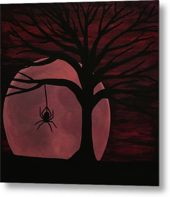 Spooky Spider Tree Metal Print