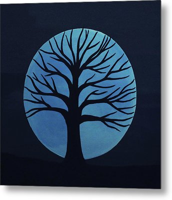 Spooky Tree Blue Metal Print