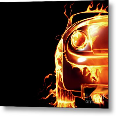 Sports Car In Flames Metal Print by Oleksiy Maksymenko
