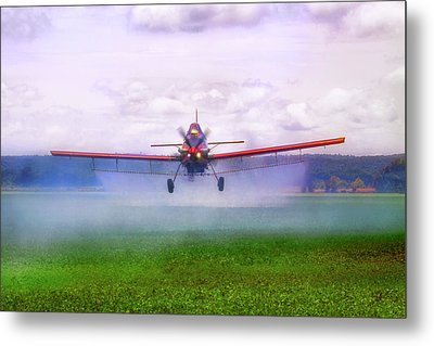 Metal Print featuring the photograph Spraying The Fields - Crop Duster - Aviation by Jason Politte
