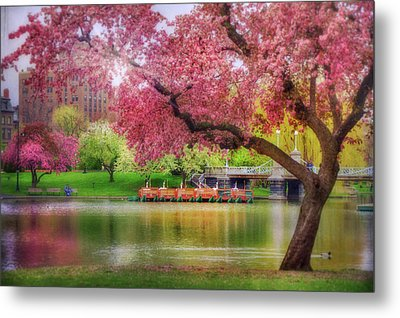 Metal Print featuring the photograph Spring Afternoon In The Boston Public Garden - Boston Swan Boats by Joann Vitali