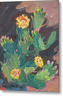 Metal Print featuring the painting Spring And Prickly Burst Cactus by Diane McClary
