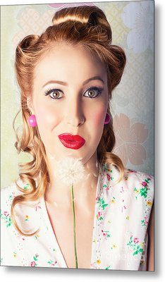 Spring Beauty. Beautiful Retro Girl Blowing Flower Metal Print by Jorgo Photography - Wall Art Gallery