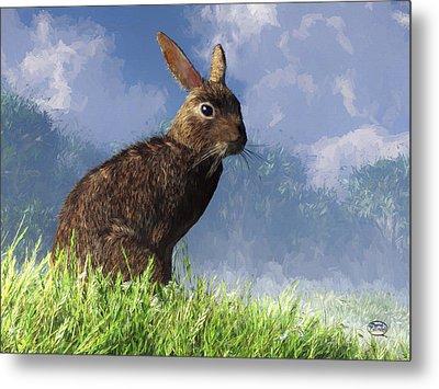 Metal Print featuring the digital art Spring Bunny by Daniel Eskridge