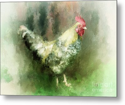 Metal Print featuring the digital art Spring Chicken by Lois Bryan