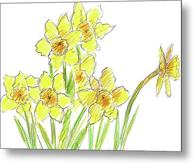 Metal Print featuring the painting Spring Daffodils by Cathie Richardson