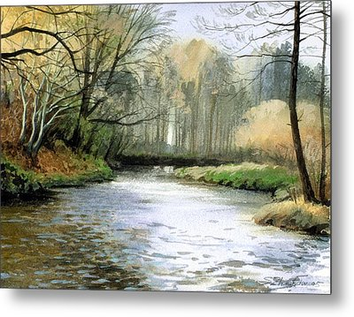Metal Print featuring the painting Spring Day On A River by Sergey Zhiboedov