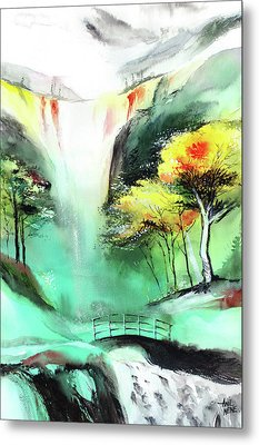 Metal Print featuring the painting Spring Fall by Anil Nene