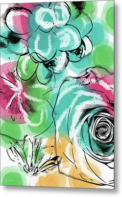 Metal Print featuring the mixed media Spring Floral 9- Art By Linda Woods by Linda Woods