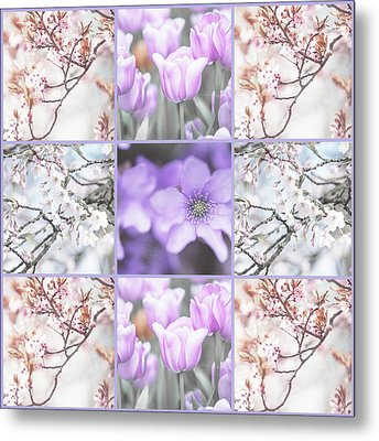 Metal Print featuring the photograph Spring Flower Collage. Shabby Chic Collection  by Jenny Rainbow