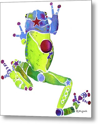 Spring Green Frog Metal Print by Jo Lynch