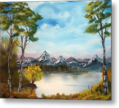 Spring Morning By The Lake Metal Print by Larry Hamilton