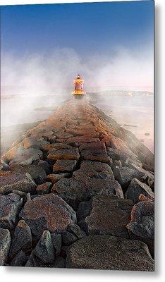 Spring Point Ledge Light Artic Sea Smoke Metal Print by Susan Candelario