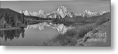 Spring Reflections At Oxbow Bend Black And White Metal Print by Adam Jewell