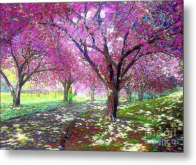 Spring Rhapsody, Happiness And Cherry Blossom Trees Metal Print