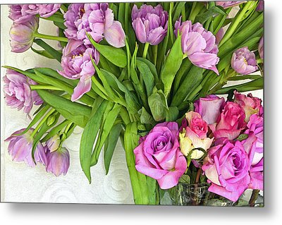 Spring Roses And Tulips Metal Print by Margaret Hood