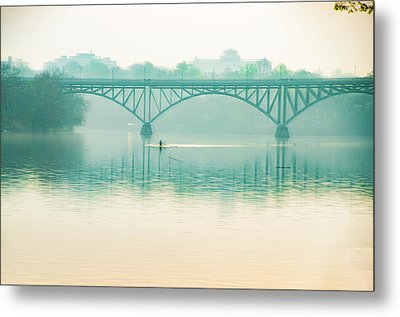 Metal Print featuring the photograph Spring - Rowing Under The Strawberry Mansion Bridge by Bill Cannon