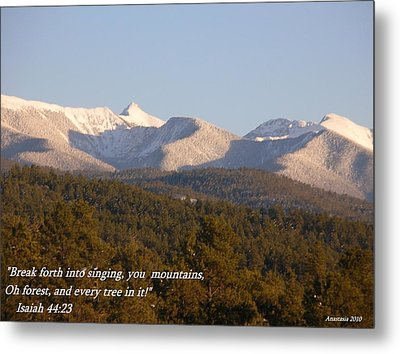Metal Print featuring the photograph Spring Snow On The Sangre De Cristos Truchas Peaks by Anastasia Savage Ealy