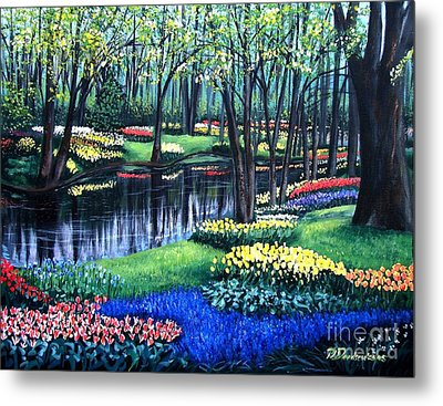 Metal Print featuring the painting Spring Splendor Tulip Garden by Patricia L Davidson