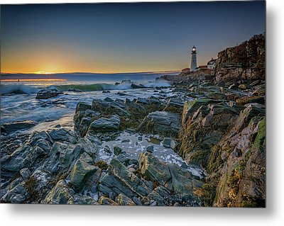 Metal Print featuring the photograph Spring Sunrise At Portland Head by Rick Berk