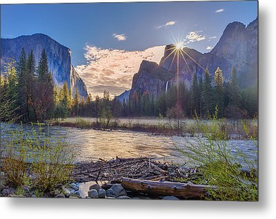 Spring Sunrise At Yosemite Valley Metal Print