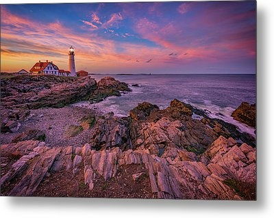 Spring Sunset At Portland Head Lighthouse Metal Print by Rick Berk