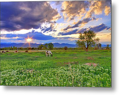 Spring Sunset Over The Rockies Metal Print by Scott Mahon