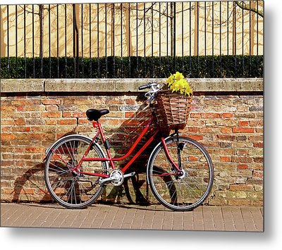 Metal Print featuring the photograph Spring Sunshine And Shadows - Bicycle In Cambridge by Gill Billington