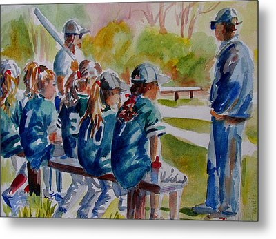 Softball Ponny Tails Metal Print by Linda Emerson