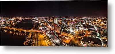 Springfield Massachusetts Night Long Exposure Panorama Metal Print by Petr Hejl