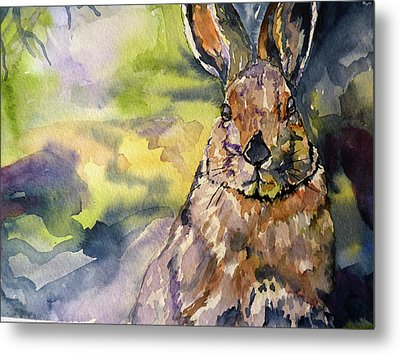 Metal Print featuring the painting Springs Almost Hare by P Maure Bausch