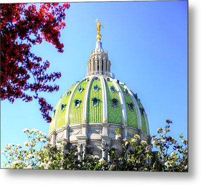 Metal Print featuring the photograph Spring's Arrival At The Pennsylvania Capitol by Shelley Neff