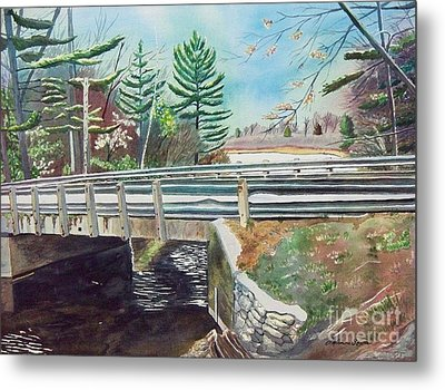 Springtime At Bass Lake Bridge Metal Print by LeAnne Sowa