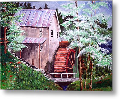 Metal Print featuring the painting Springtime At The Old Mill by Jim Phillips