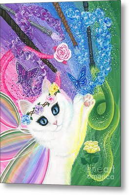 Metal Print featuring the painting Springtime Magic - White Fairy Cat by Carrie Hawks