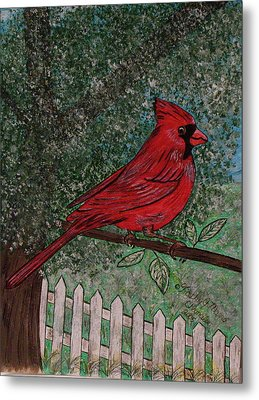 Metal Print featuring the painting Springtime Red Cardinal by Kathy Marrs Chandler