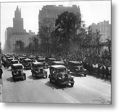 Squad Cars In Police Parade Metal Print by Underwood Archives