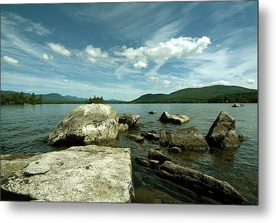 Squam Lake On The Rocks Metal Print by Rick Frost