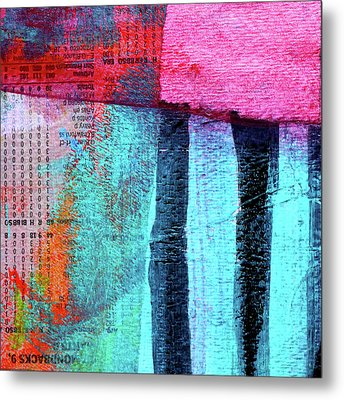 Metal Print featuring the painting Square Collage No 4 by Nancy Merkle