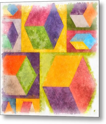 Square Cubes Abstract Metal Print