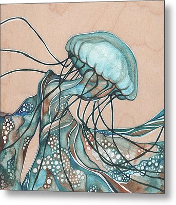 Square Lucid Jellyfish On Wood Metal Print by Tamara Phillips
