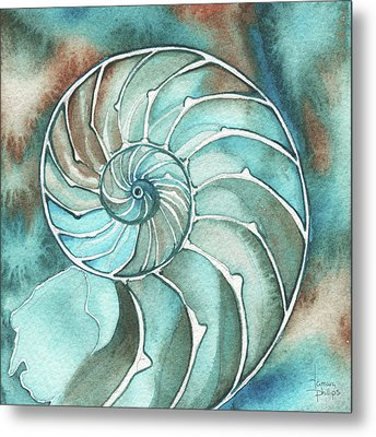 Square Nautilus Metal Print by Tamara Phillips