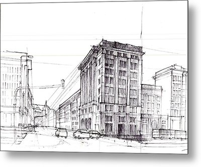 Square Of Constitution Sketch Metal Print by Krystian  Wozniak