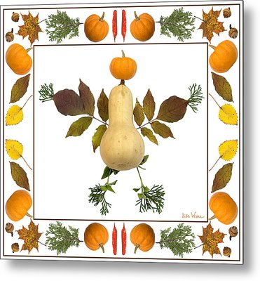 Squash With Pumpkin Head Metal Print by Lise Winne