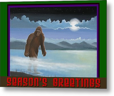 Squatch Season's Greetings Metal Print by Stuart Swartz