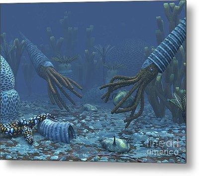 Squid-like Orthoceratites Attempt Metal Print