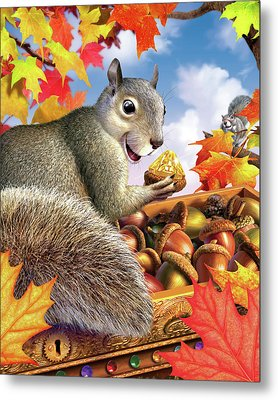Squirrel Treasure Metal Print by Jerry LoFaro