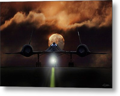 Metal Print featuring the digital art Sr-71 Supermoon by Peter Chilelli